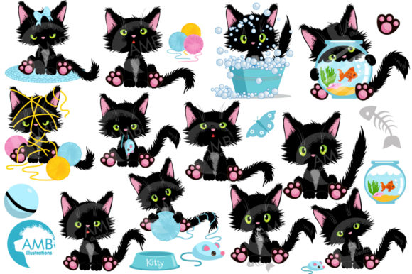 Cute Black Cat Clipart Graphic Illustrations By AMBillustrations - Image 4