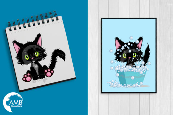 Cute Black Cat Clipart Graphic Illustrations By AMBillustrations - Image 5