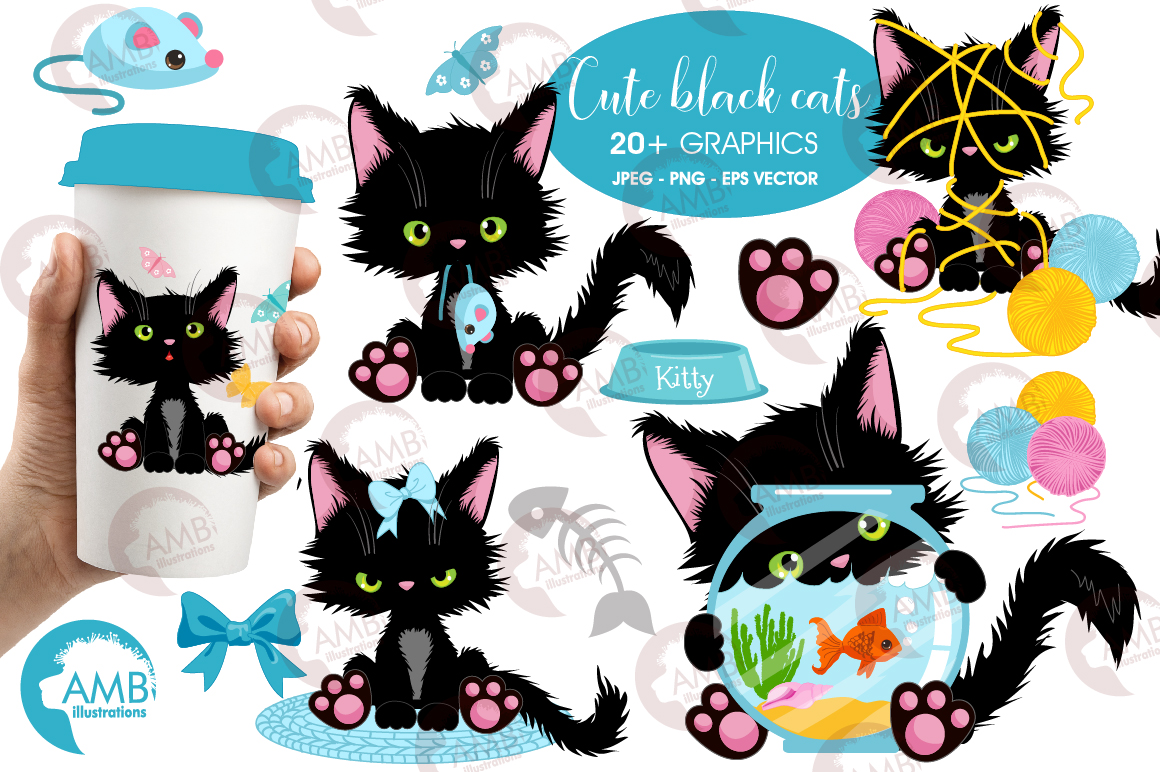 Download Free Cute Black Cat Clipart Graphic By Ambillustrations Creative for Cricut Explore, Silhouette and other cutting machines.