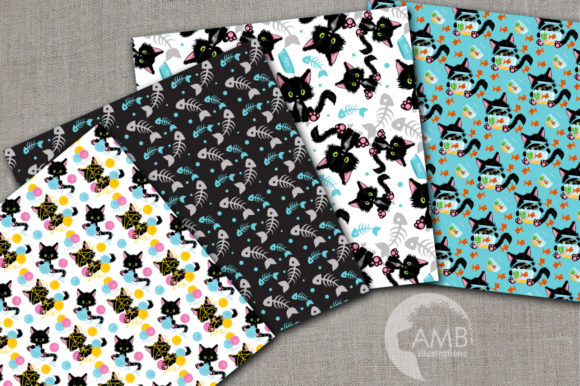 Cute Black Cat Papers Graphic Patterns By AMBillustrations - Image 2