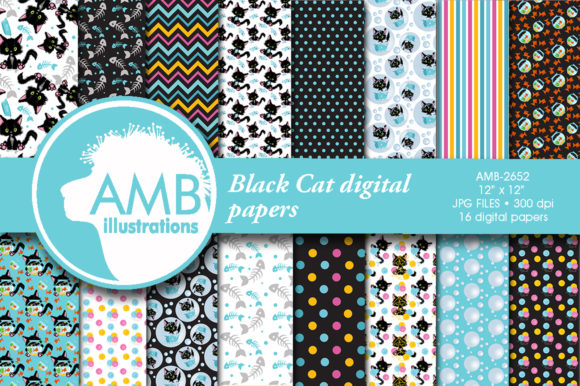 Cute Black Cat Papers Graphic Patterns By AMBillustrations