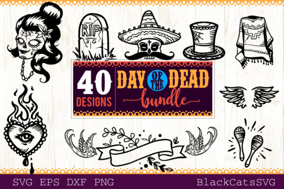 Download Free Day Of The Dead Svg Bundle 40 Designs Graphic By Blackcatsmedia for Cricut Explore, Silhouette and other cutting machines.