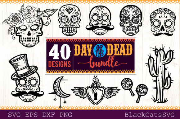 Download Free Day Of The Dead Svg Bundle 40 Designs Graphic By Blackcatsmedia SVG Cut Files