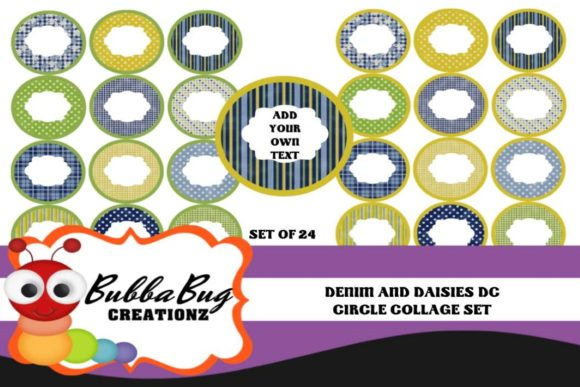 Denim & Daisies Circle Collage Set Graphic Crafts By BUBBABUG - Image 1