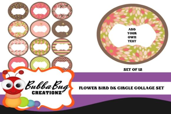 Flower Bird Circle Collage Set Graphic Crafts By BUBBABUG