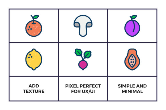 Download Free Fruit And Vegetables Icon Set Graphic By Abstractocreate for Cricut Explore, Silhouette and other cutting machines.