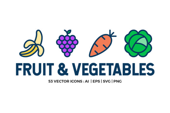 Fruit and Vegetables Icon Set Graphic Icons By abstractocreate