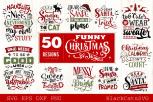 Funny Christmas Bundle 50 Designs Graphic By Blackcatsmedia
