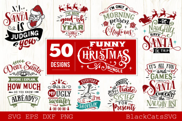 Funny Christmas SVG Bundle 50 Designs Graphic Crafts By BlackCatsMedia - Image 3