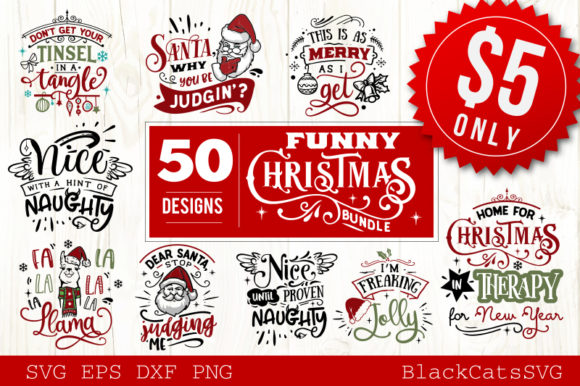 Funny Christmas SVG Bundle 50 Designs Graphic By BlackCatsMedia Image 2