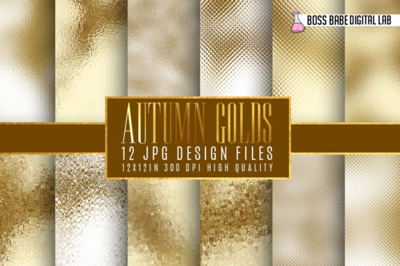 Gold and Bronze Autumn Foil Textures Graphic By bossbabedigitallab