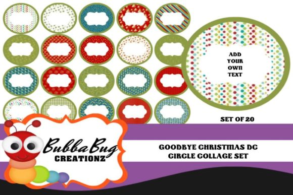 Goodbye Christmas Circle Collage Set Graphic Crafts By BUBBABUG