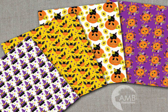 Halloween Cats Pumpkins Papers Graphic Patterns By AMBillustrations - Image 2
