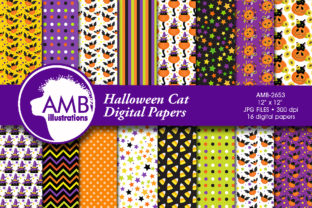 Halloween Cats Pumpkins Papers Graphic By AMBillustrations