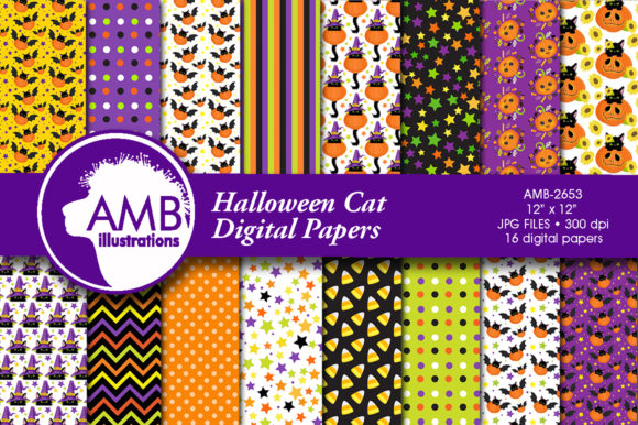 Halloween Cats Pumpkins Papers Graphic Patterns By AMBillustrations - Image 1