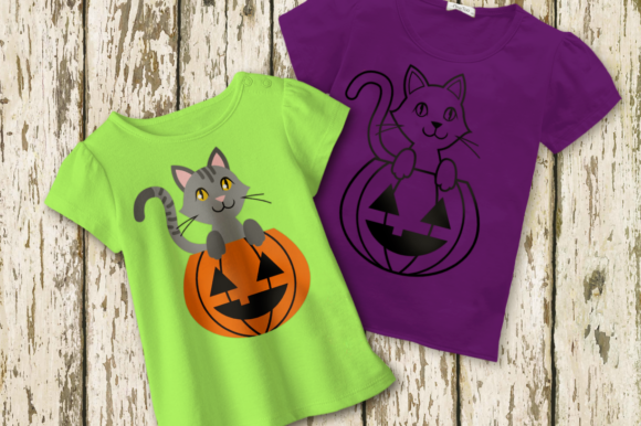 Halloween Pumpkin Cat Graphic Crafts By RisaRocksIt