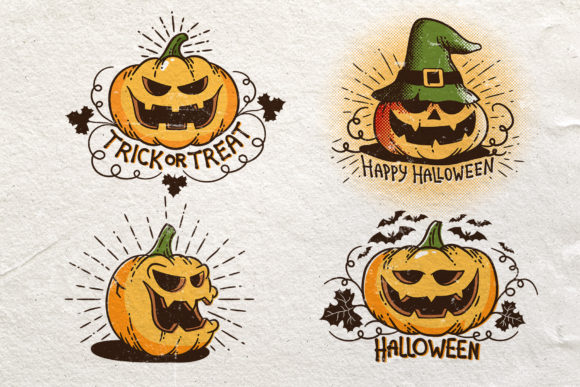 Halloween Retro Pumpkins Graphic Illustrations By Agor2012