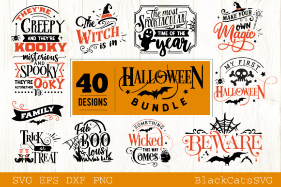 Halloween SVG Bundle 40 Designs Vol 2 Grafik Designvorlagen von BlackCatsMedia