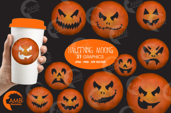 Haunted Moon, Halloween Clipart Graphic Illustrations By AMBillustrations