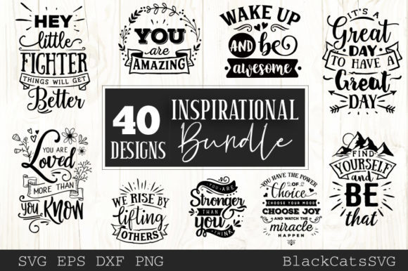 Inspirational Bundle 40 Designs Graphic Crafts By BlackCatsMedia