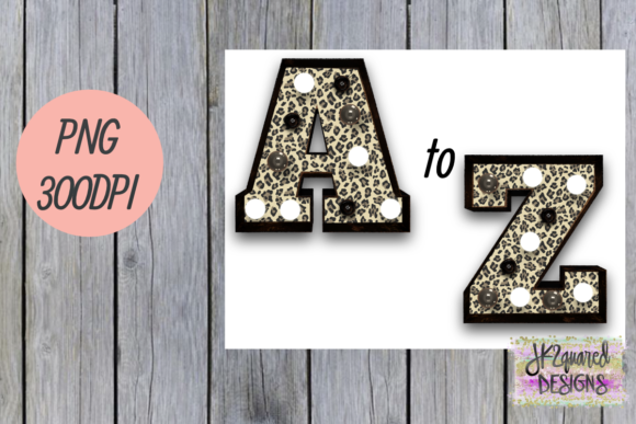 Print on Demand: Leopard Marquee Alphabet Graphic Objects By jk2quareddesigns