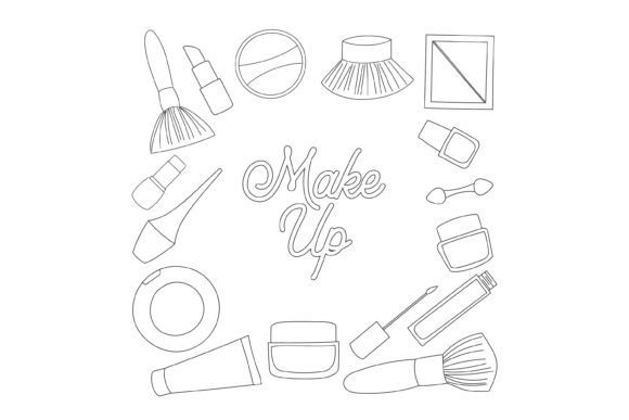Download Free Makeup Tool Outline Design Graphic By Sabavector Creative Fabrica for Cricut Explore, Silhouette and other cutting machines.