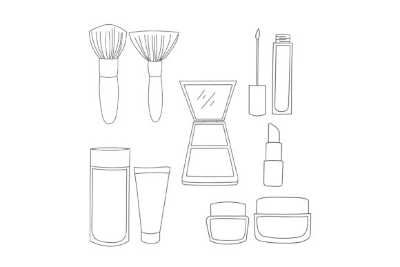 Print on Demand: Makeup Tool Outline Design Graphic Graphic Templates By sabavector