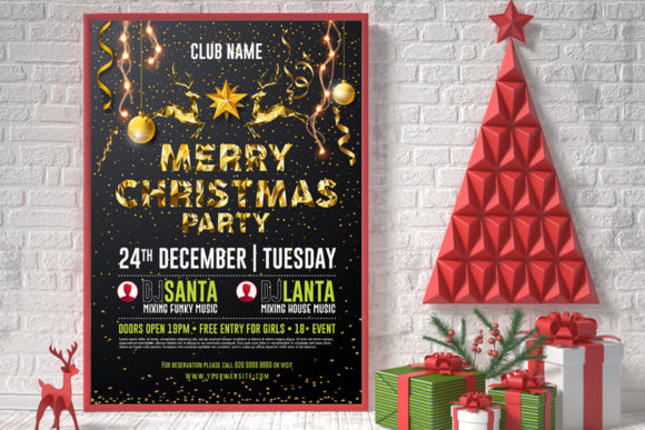 Merry Christmas Poster Graphic Print Templates By Skull and Rose - Image 3
