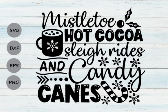 Print on Demand: Mistletoe Hot Cocoa Sleigh Rides Graphic Crafts By CosmosFineArt
