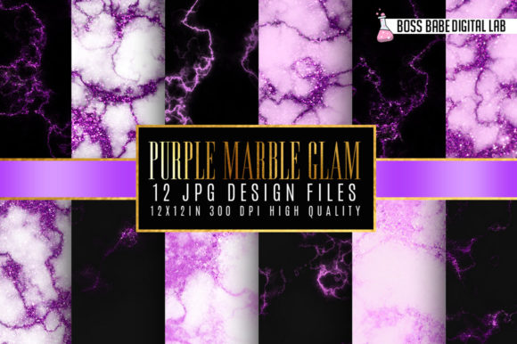 Print on Demand: Purple Glam Marble Digital Paper Graphic Textures By bossbabedigitallab