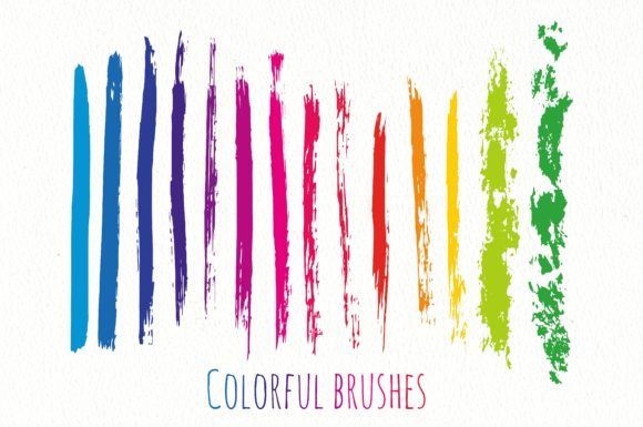 Print on Demand: Rainbow Ink Texture Brushes Vector Graphic Brushes By worldion
