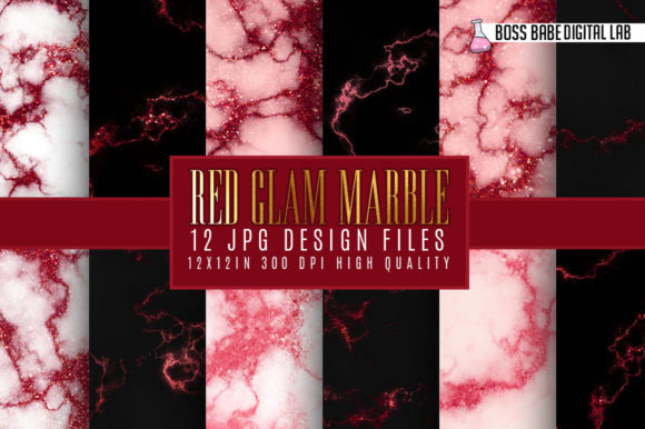 Print on Demand: Red Glam Marble Digital Paper Graphic Textures By bossbabedigitallab
