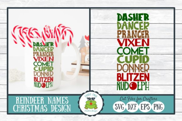 Download Free Reindeer Names Graphic By Funkyfrogcreativedesigns Creative for Cricut Explore, Silhouette and other cutting machines.
