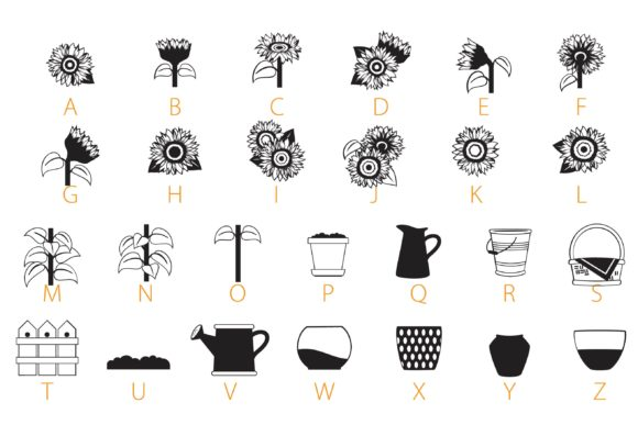 Print on Demand: Sunflowers Dingbats Font By Illustration Ink - Image 3
