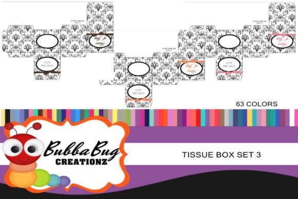 Tissue Boxes Set 3 Graphic Crafts By BUBBABUG