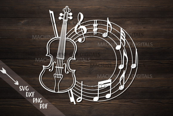 Download Free Violin Frame Cut Digital File Graphic By Cornelia Creative Fabrica for Cricut Explore, Silhouette and other cutting machines.