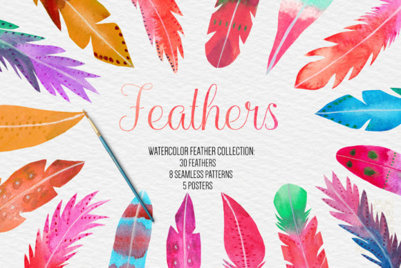 Watercolor Feathers Clipart Graphic Illustrations By BonaDesigns