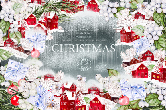 Watercolor Merry Christmas Graphic Objects By Knopazyzy - Image 1