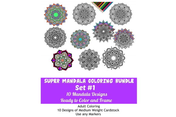 Print on Demand: 10 Sheet Line Art Mandala Coloring Pack Graphic Coloring Pages & Books Adults By Scrapbook Attic Studio