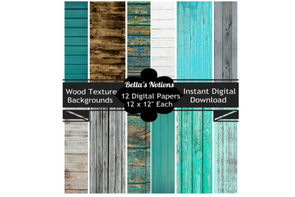 Print on Demand: 12 Wood Art Backgrounds for Scrapbooking Graphic Illustrations By Scrapbook Attic Studio