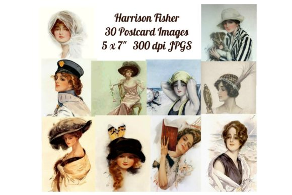 Print on Demand: 30 Harrison Fisher Postcard Art Images Graphic Illustrations By Scrapbook Attic Studio