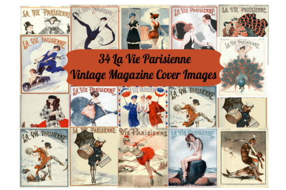 Print on Demand: 34 La Vie Parisienne Magazine Art Images Graphic Illustrations By Scrapbook Attic Studio