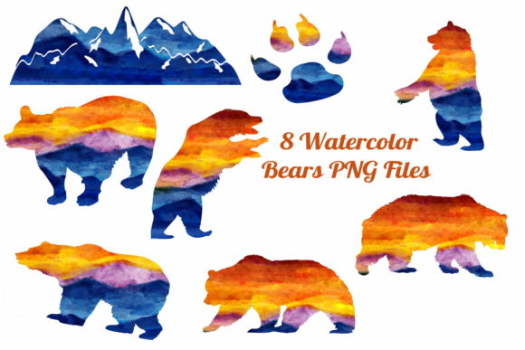 8 Watercolor Bear and Mt. Silhouettes Graphic By Scrapbook Attic Studio Image 1