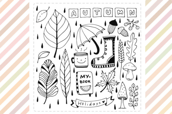 Print on Demand: Autumn Doodle Elements Graphic Illustrations By worldion - Image 2