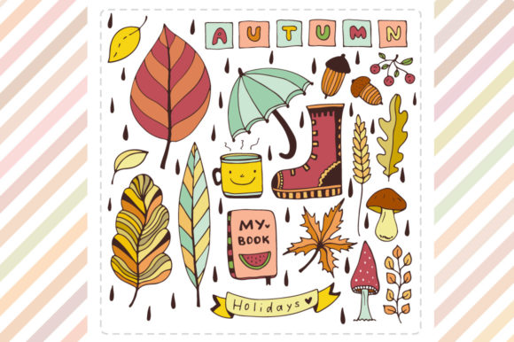 Autumn Doodle Elements Graphic By worldion