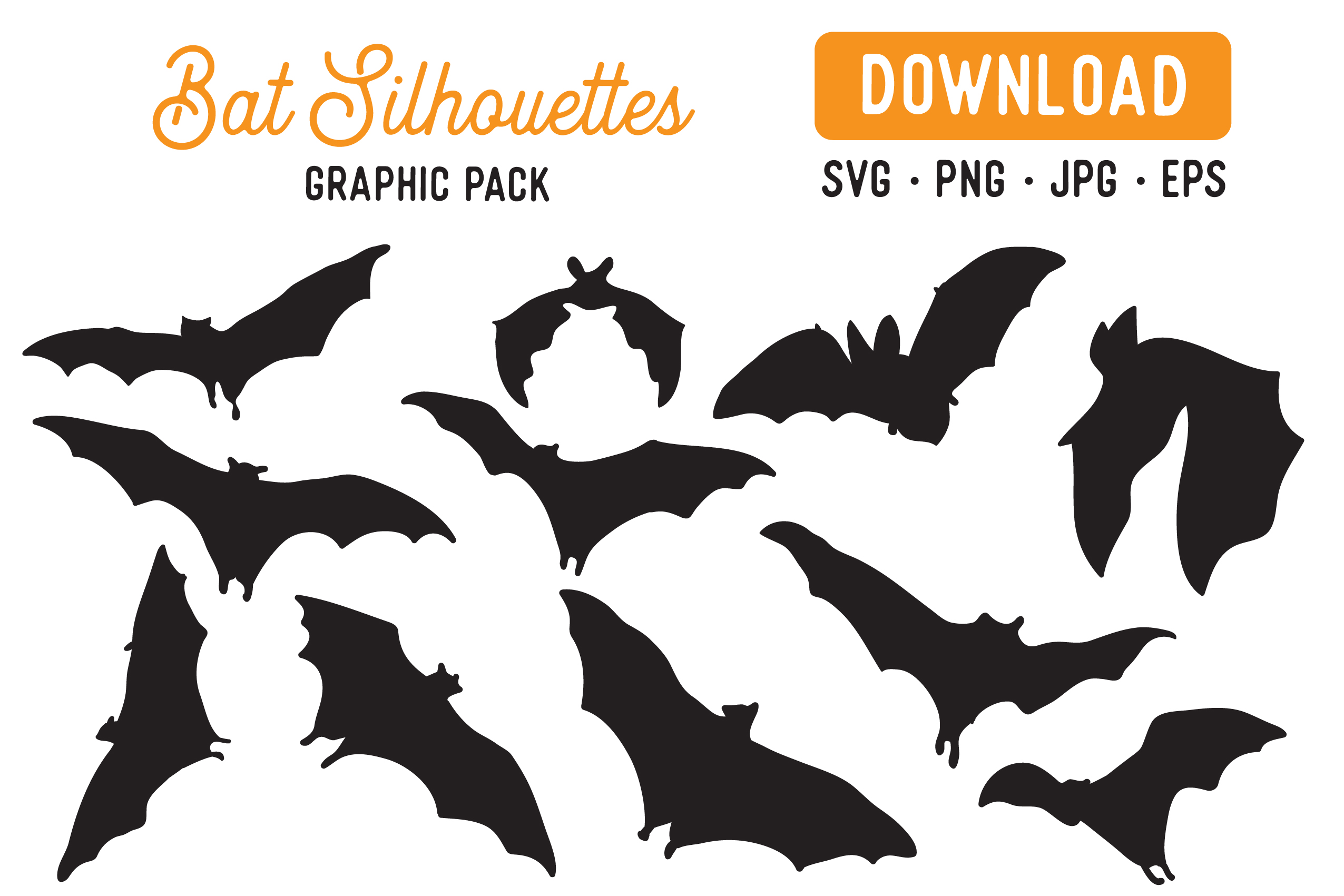 Download Free Bat Silhouettes Vector Clipart Pack Graphic By The Gradient Fox for Cricut Explore, Silhouette and other cutting machines.