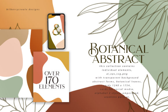 Botanical Abstract Collection Graphic Illustrations By BilberryCreate