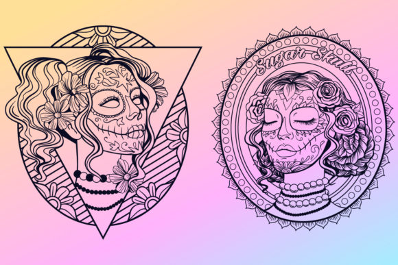 Print on Demand: Calavera Ladies Collection 21 Elements Graphic Coloring Pages & Books Adults By tatiana.cociorva - Image 2