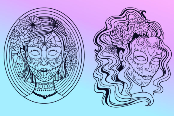 Print on Demand: Calavera Ladies Collection 21 Elements Graphic Coloring Pages & Books Adults By tatiana.cociorva - Image 4
