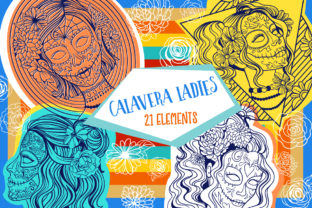 Print on Demand: Calavera Ladies Collection 21 Elements Grafik Ausmalseiten & Malbücher für Erwachsene von tatiana.cociorva